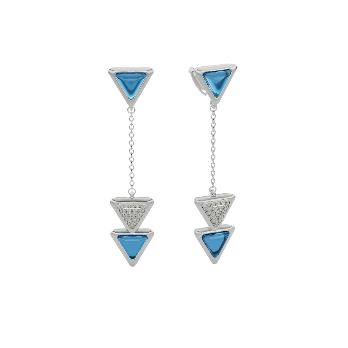 Earrings Dove Vai Forward Exquisite White Gold Blue Topaz and Diamonds