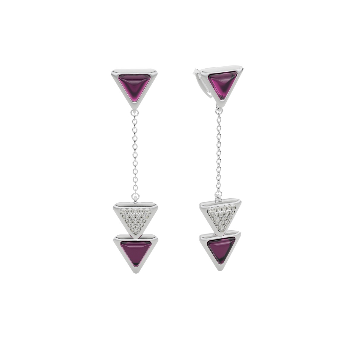 Earrings Dove Vai Forward Exquisite White Gold Pink Garnet and Diamonds
