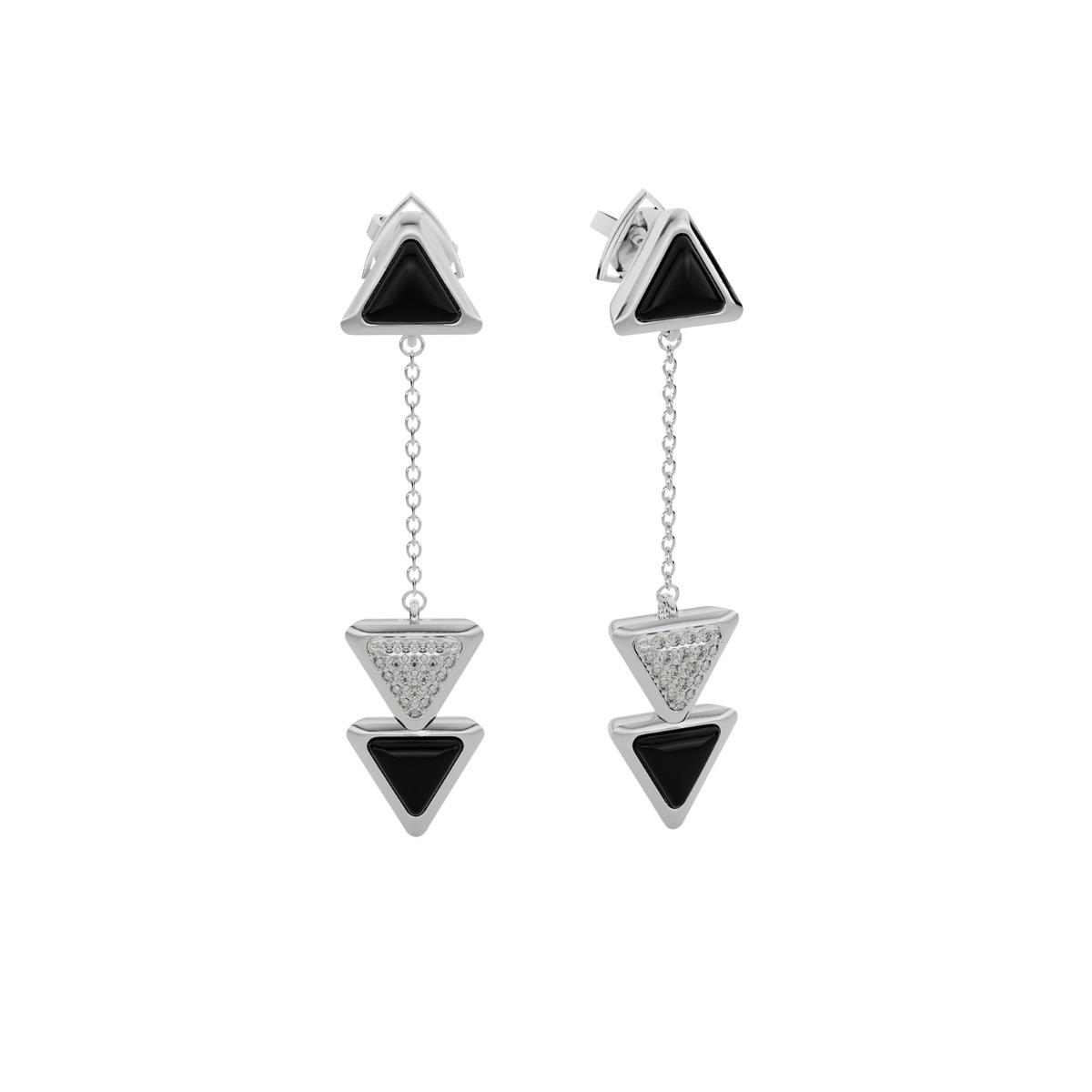 Earrings Dove Vai Rewind Exquisite White Gold Onix and Diamonds