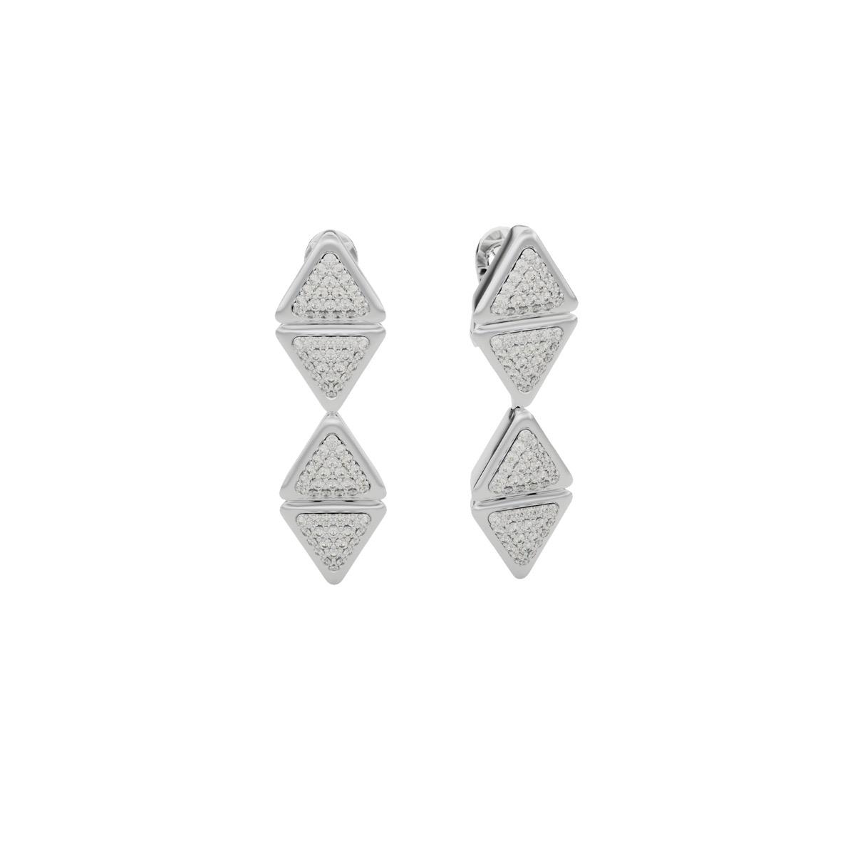 Earrings Mid Anniversary White Gold Full Diamonds Pavé