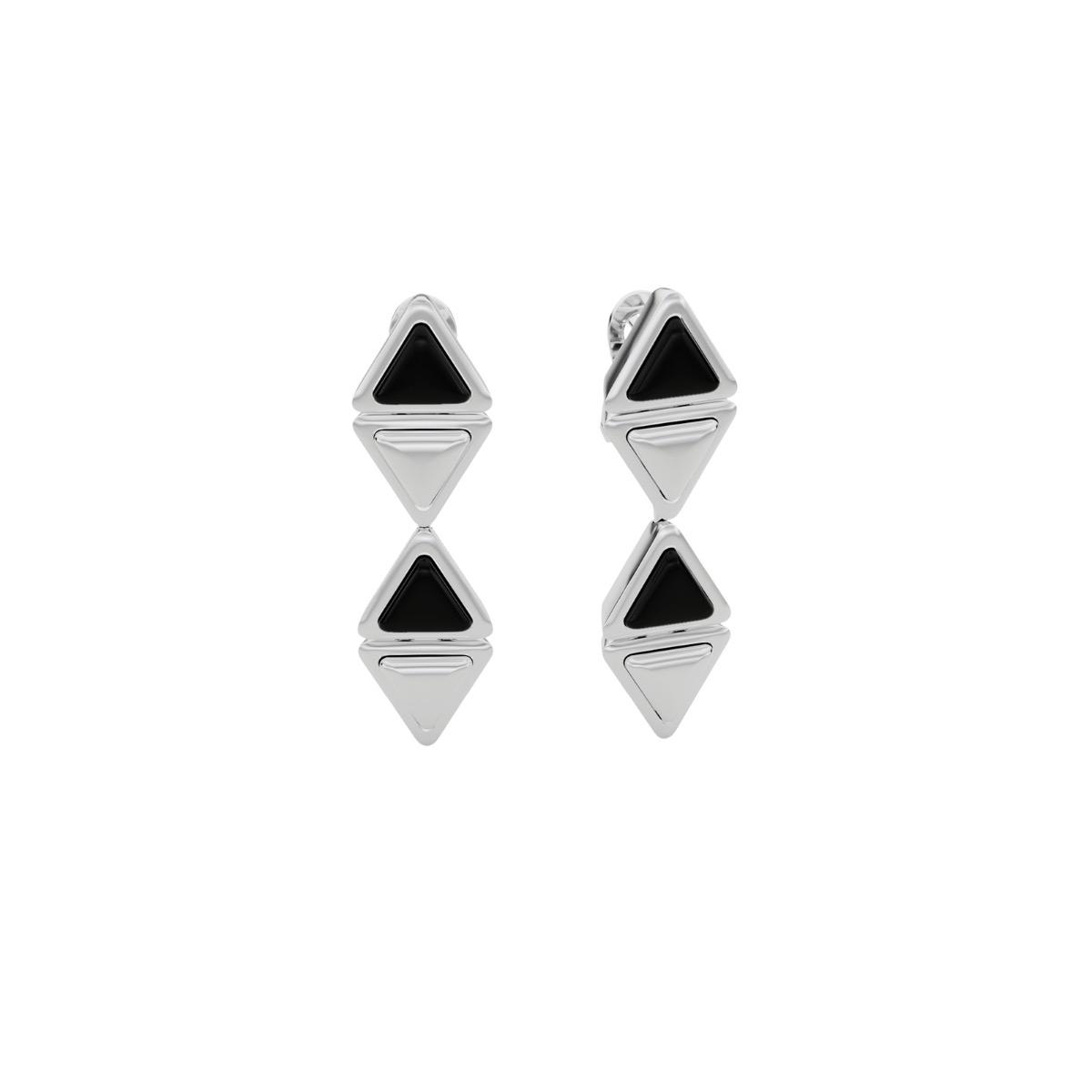Earrings Mid Mirror Gem White Gold Onix