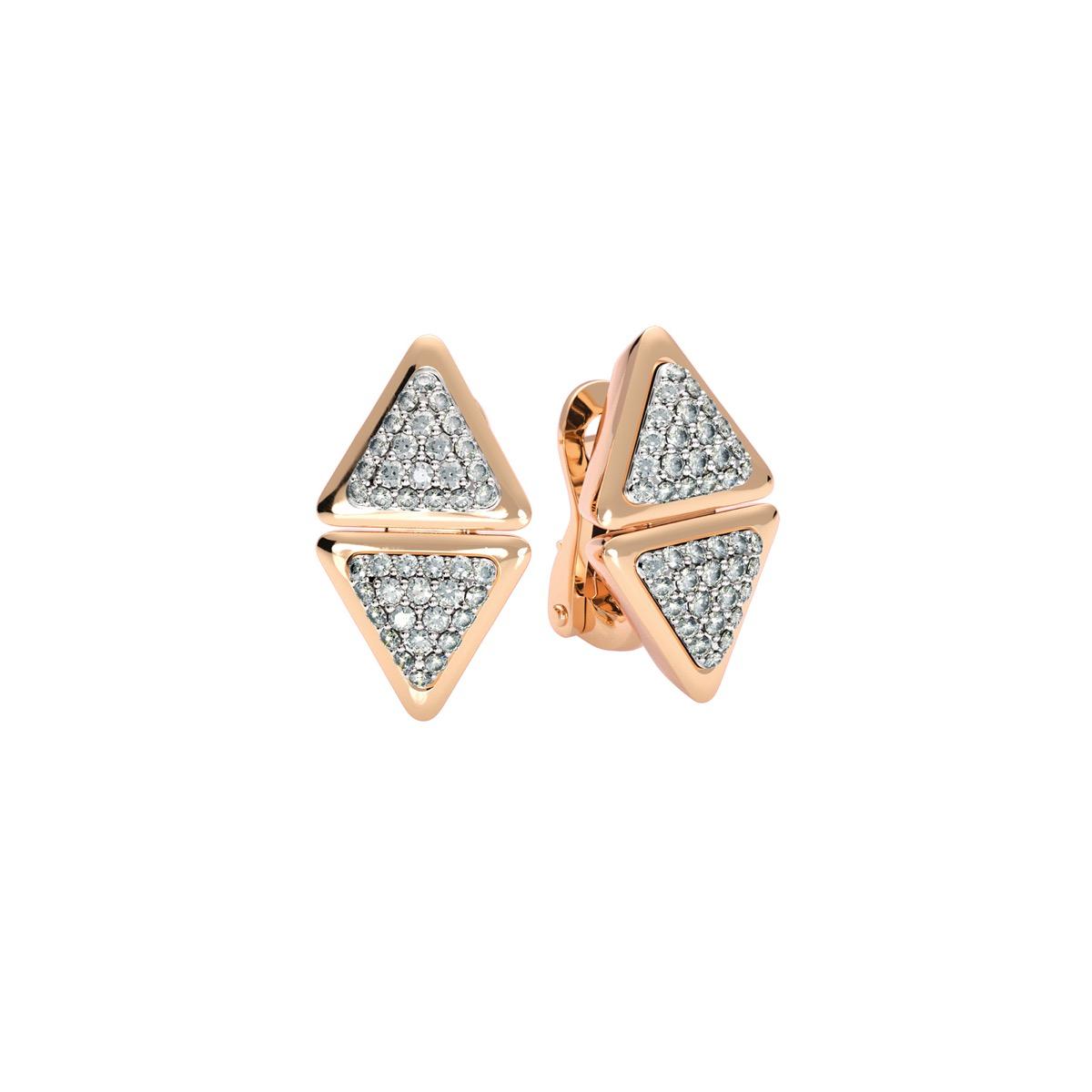 Earrings Short Anniversary Rose Gold Full Diamonds Pavé