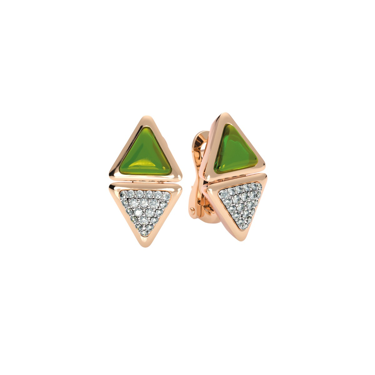 Earrings Short Mirror Exquisite Rose Gold  Green Tourmaline and Diamonds