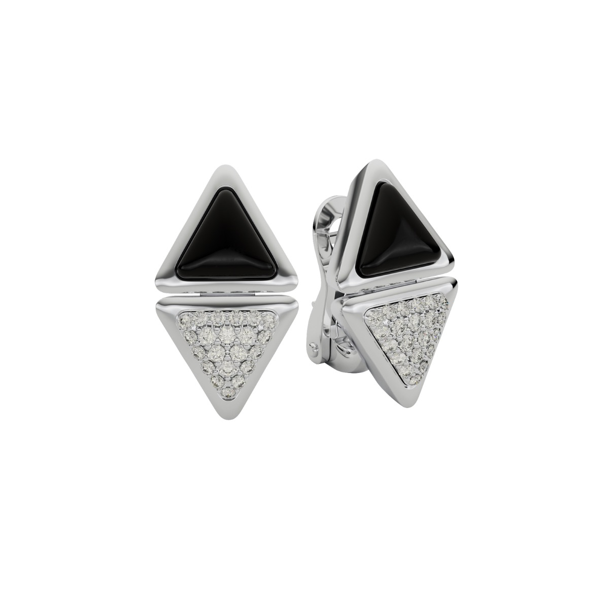 Earrings Short Mirror Exquisite White Gold Onix and Diamonds