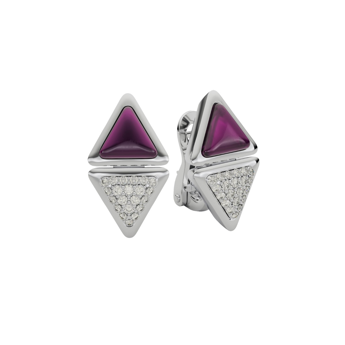 Earrings Short Mirror  Exquisite White Gold Pink Garnet and Diamonds
