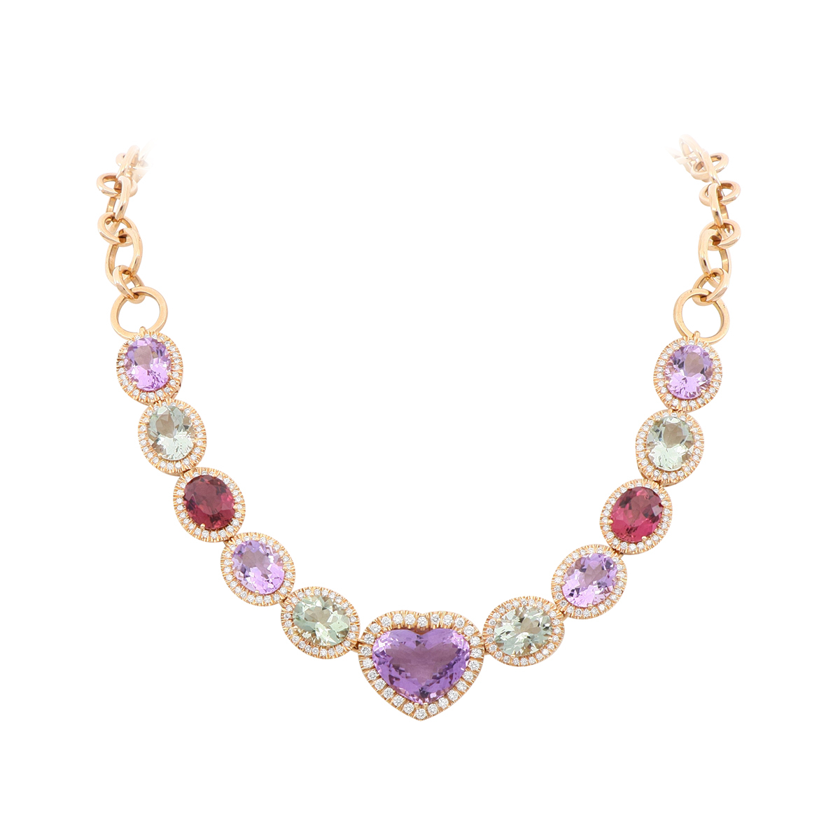 Red Gold Multi-Gem Heart Necklace