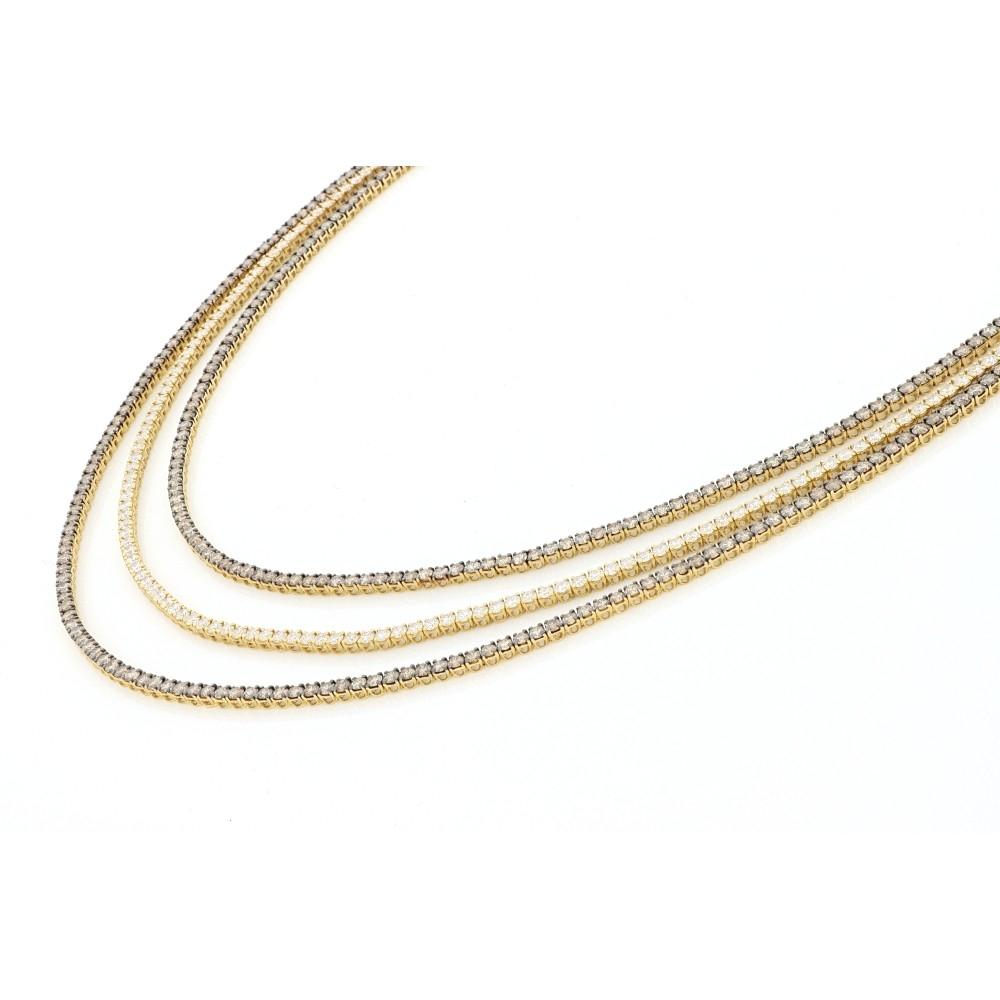 Triple Line Diamonds Eternity Necklace