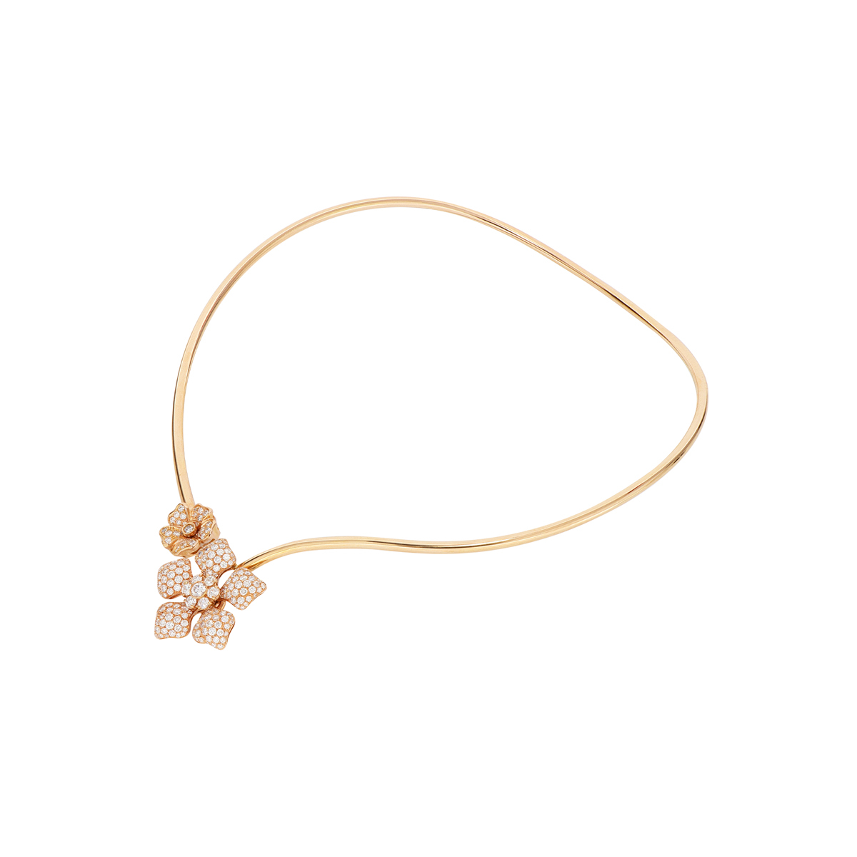 Adjustable Open Collar Diamond Flower Necklace