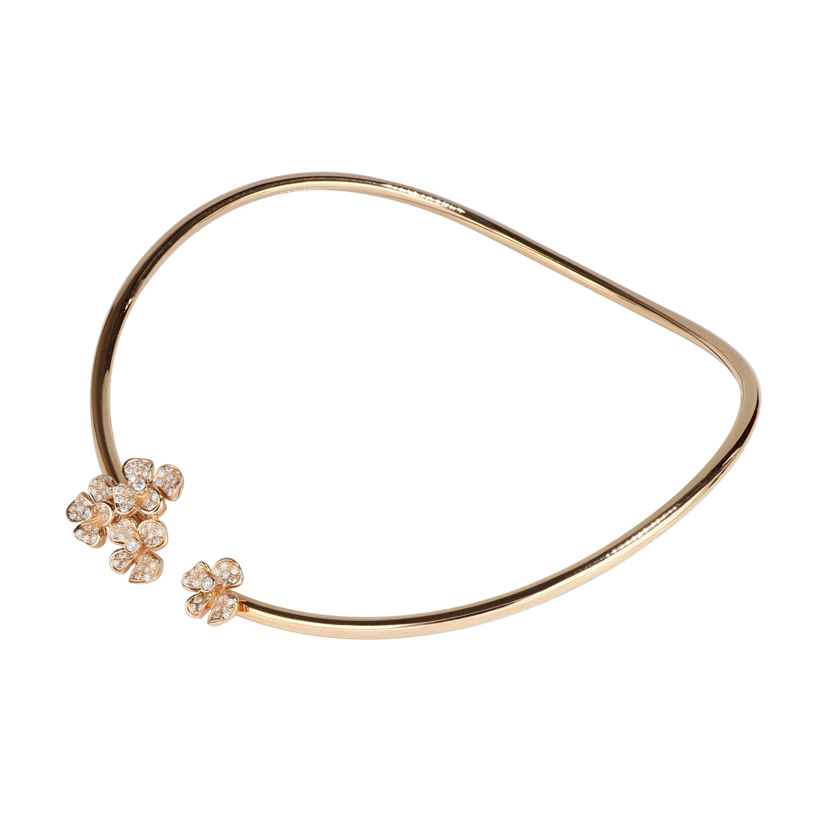 Flexible Hard Gold Flowers Necklace