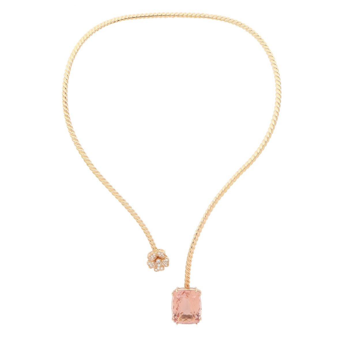Flexible Hard Gold Necklace With Diamonds Flower And Morganite Stone