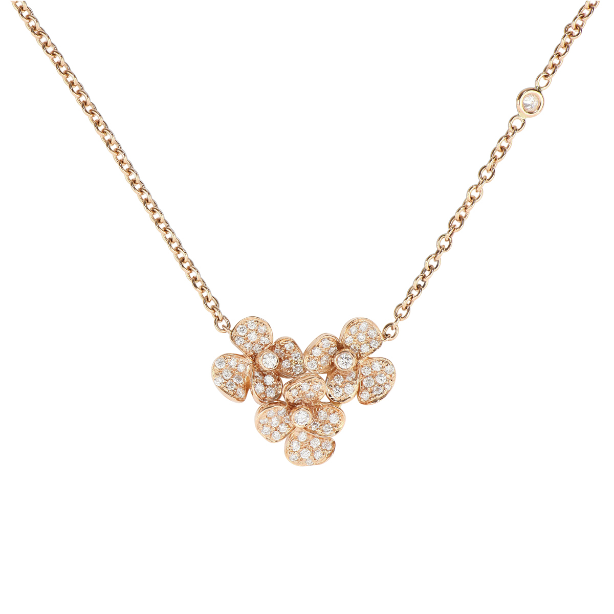 Red Gold and Diamond Flower Bouquet Necklace