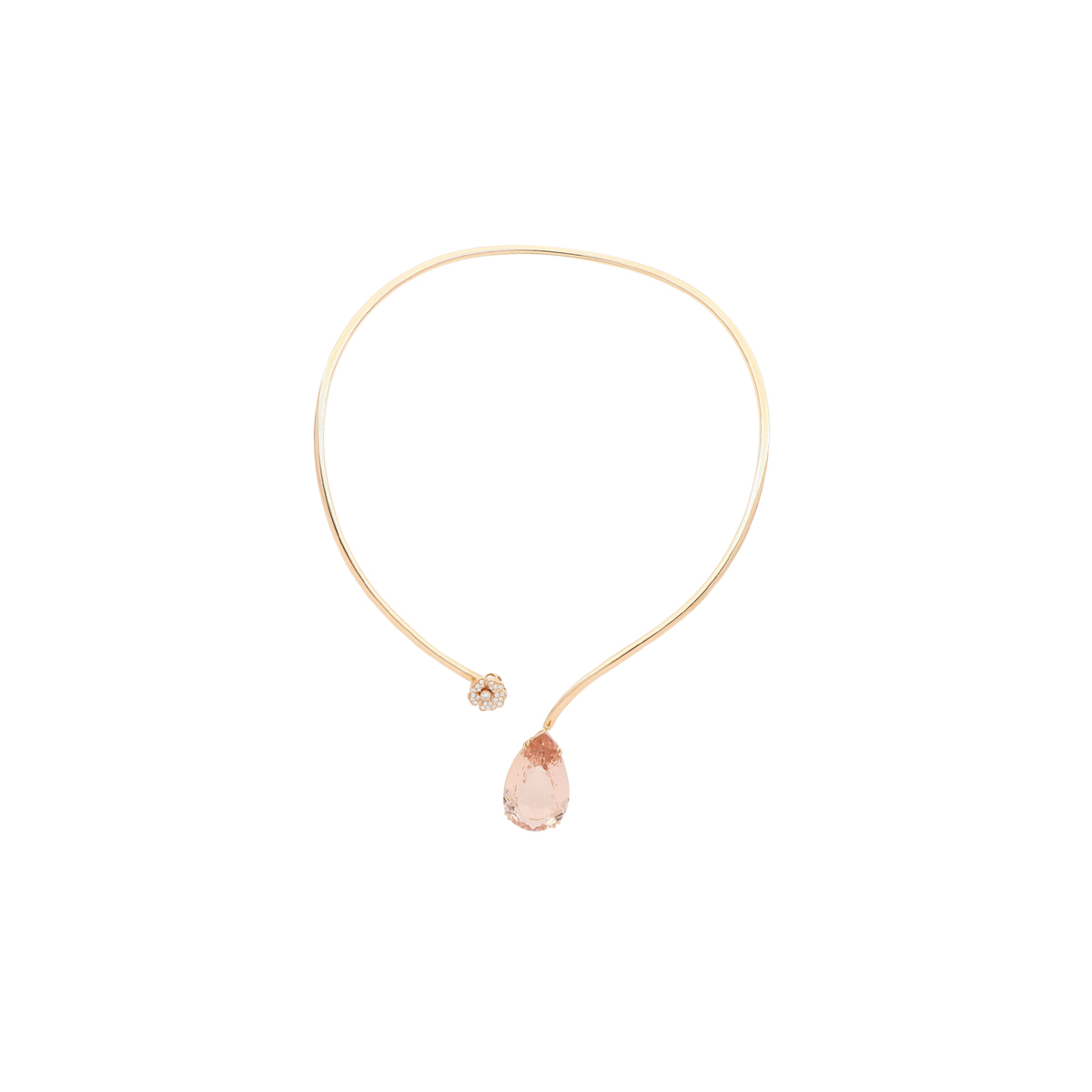 Open Collar Necklace with Morganite and Diamond Flower
