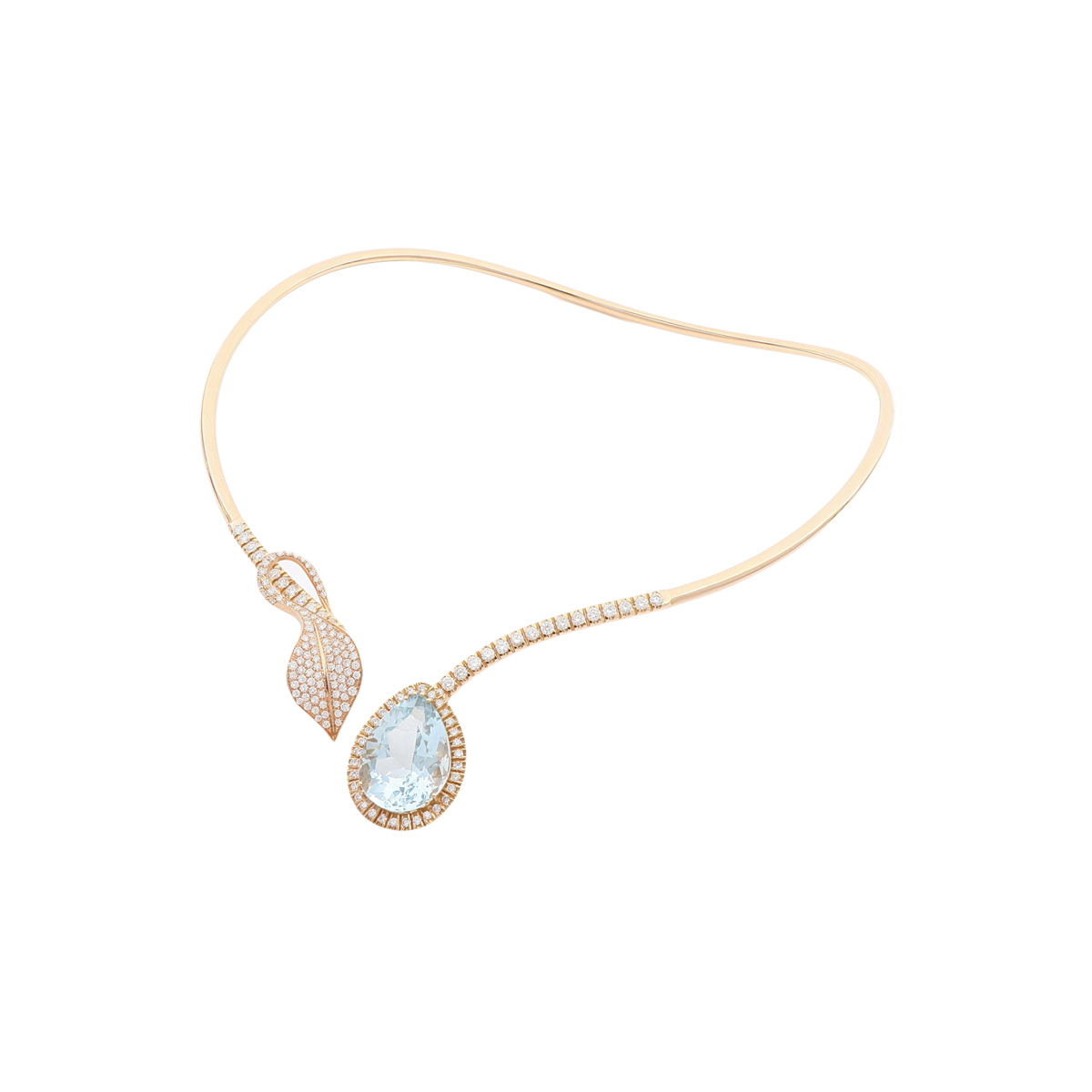 Open Collar Necklace with Pear-Cut Aquamarine and Diamond Leaf