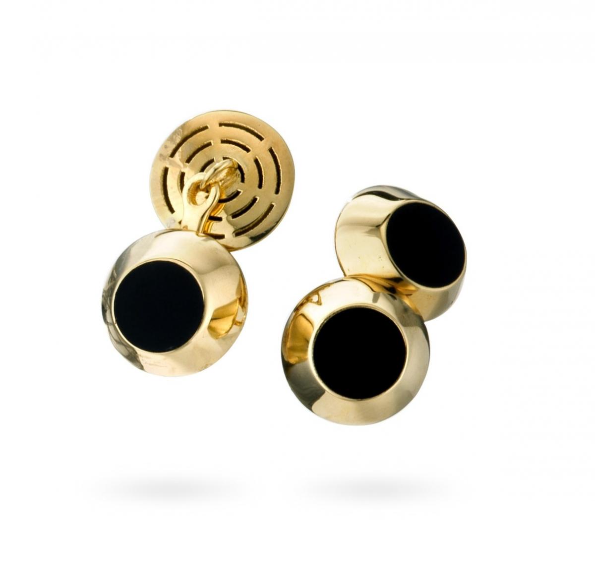 Onyx Cufflinks in 18Kt Yellow Gold