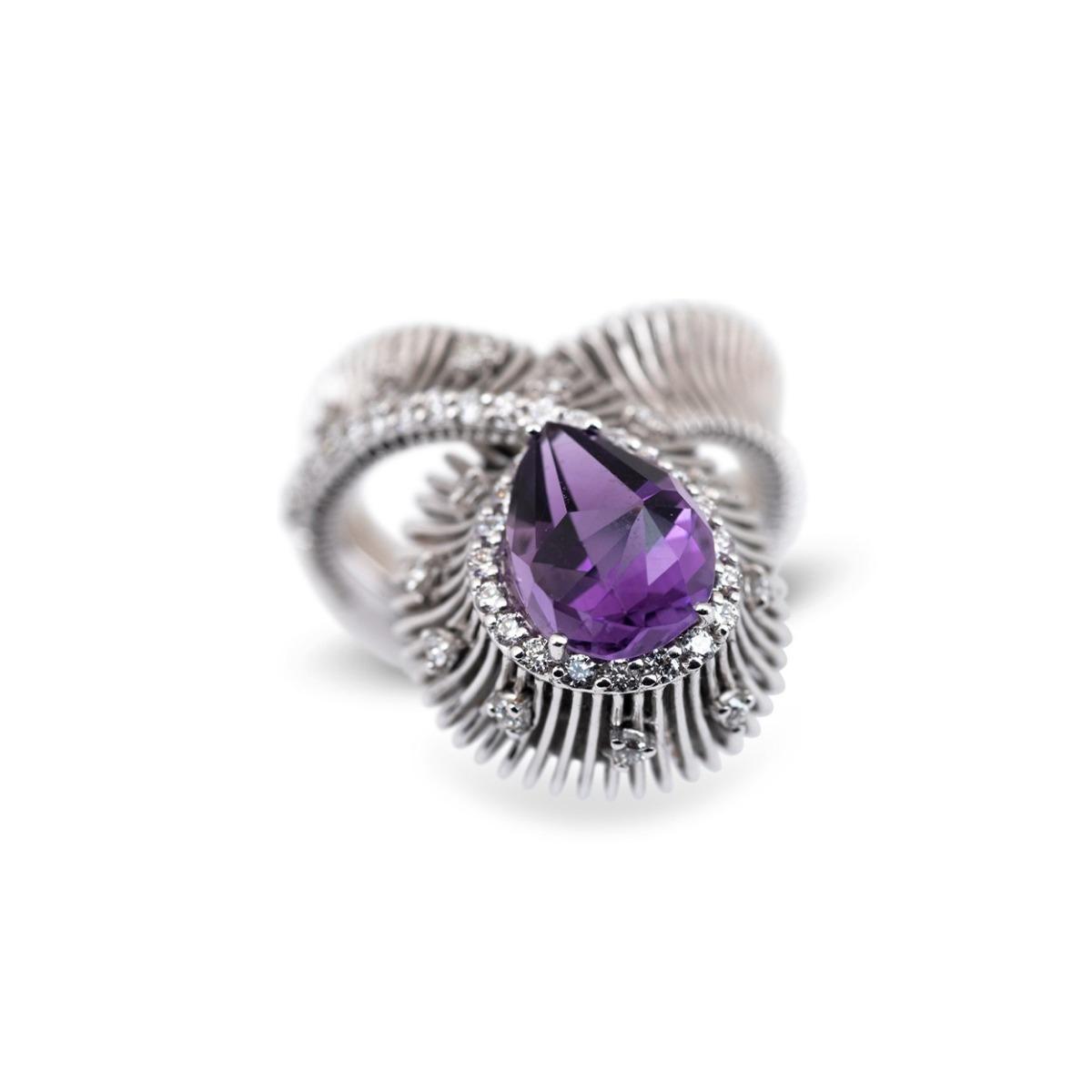 Amethyst and Diamond Loop Ring