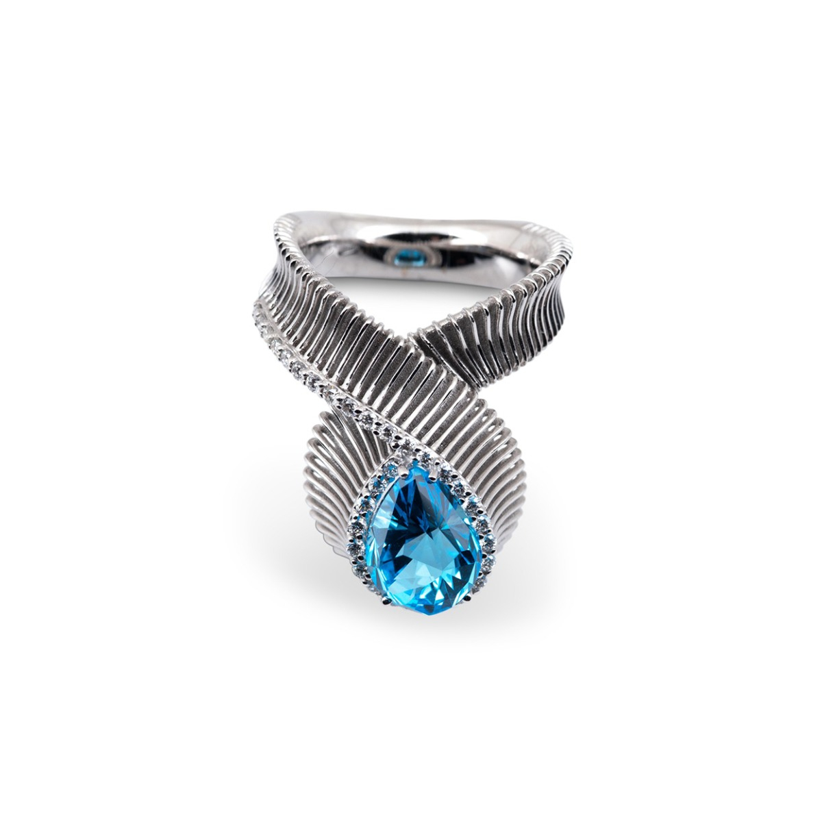 Blue Topaz and Diamond Loop Ring