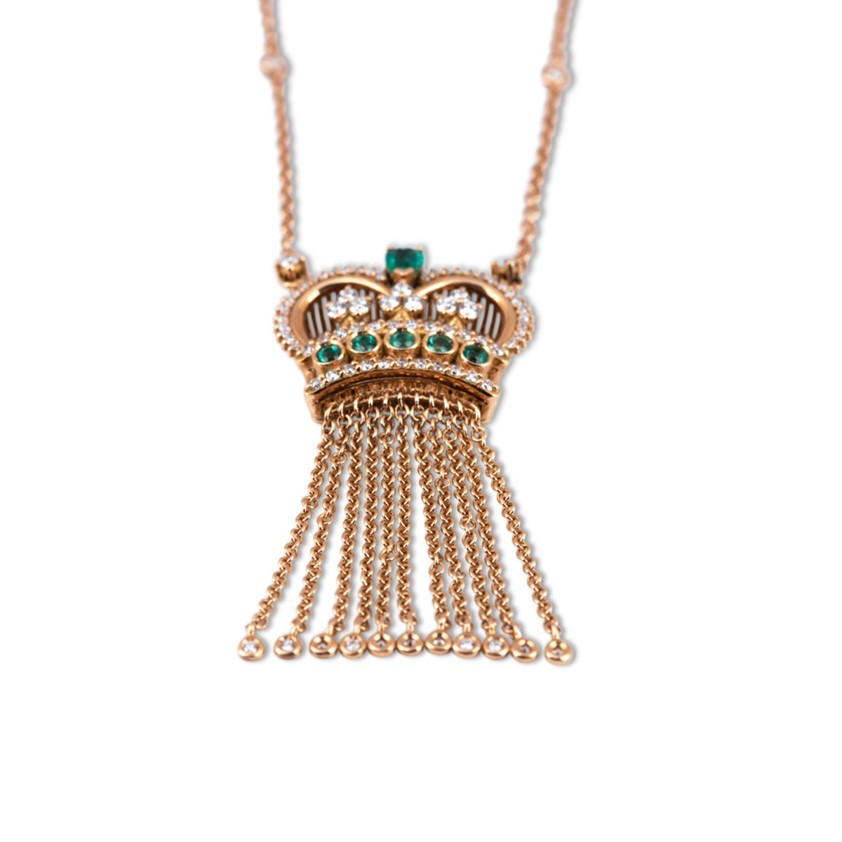 Emerald and Diamond Crown Pendant Necklace