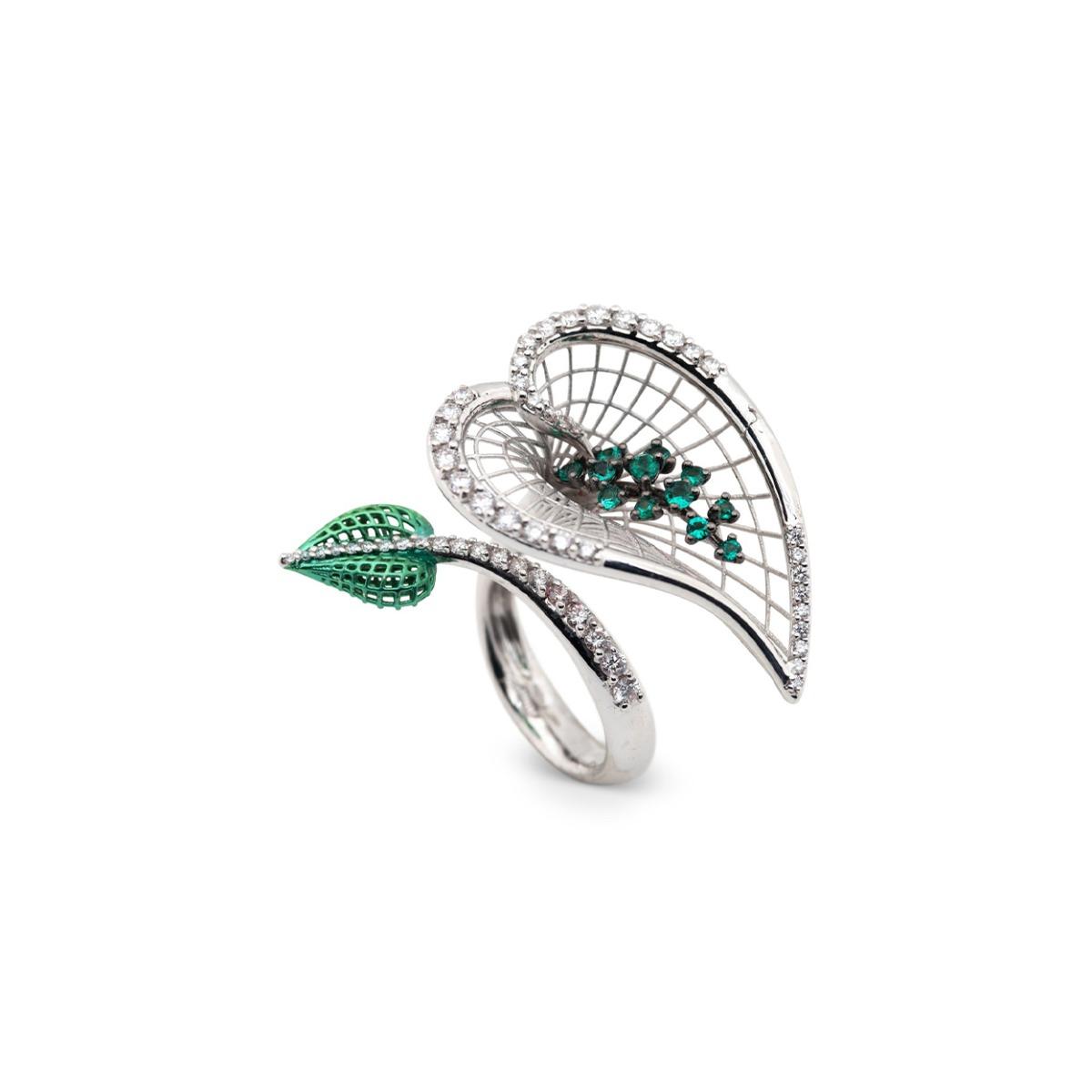 Emerald Calla Flower Ring