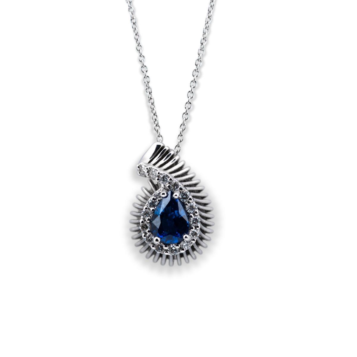 Pear-Cut Blue Sapphire Pendant Necklace