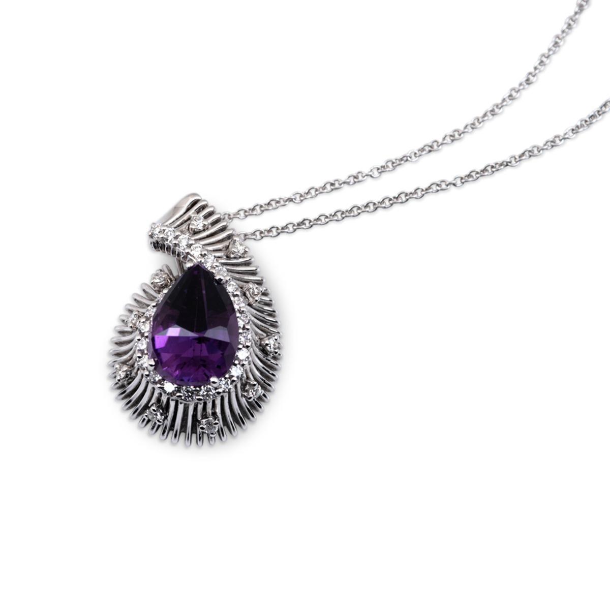 Pear-Cut Purple Amethyst Pendant Necklace
