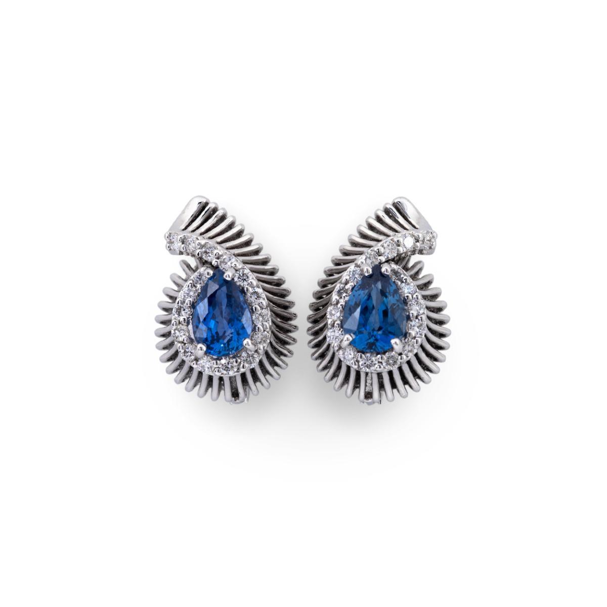 Pear-Cut Sapphire and Diamond Stud Earrings
