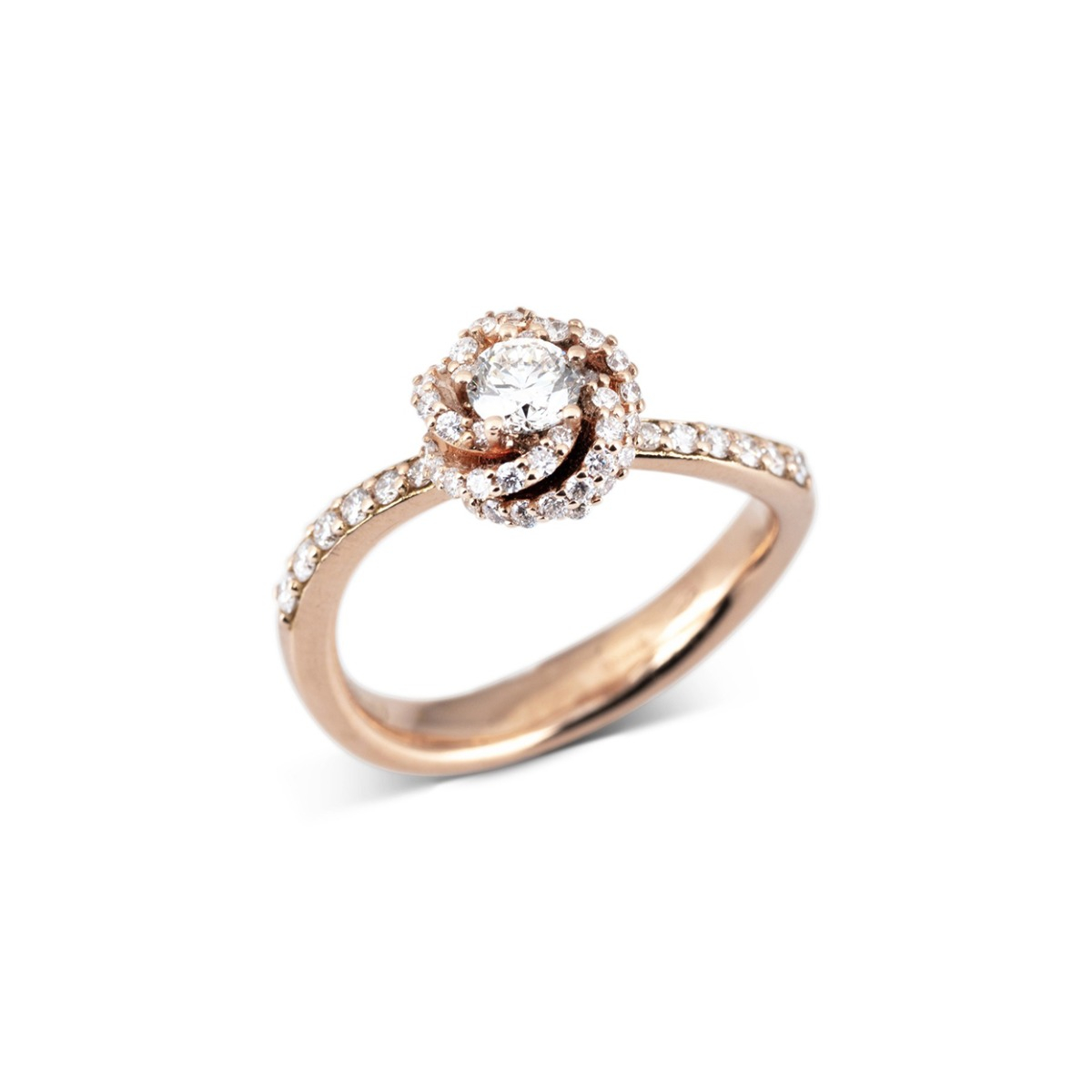 Rose Gold Blossom Ring with Diamonds