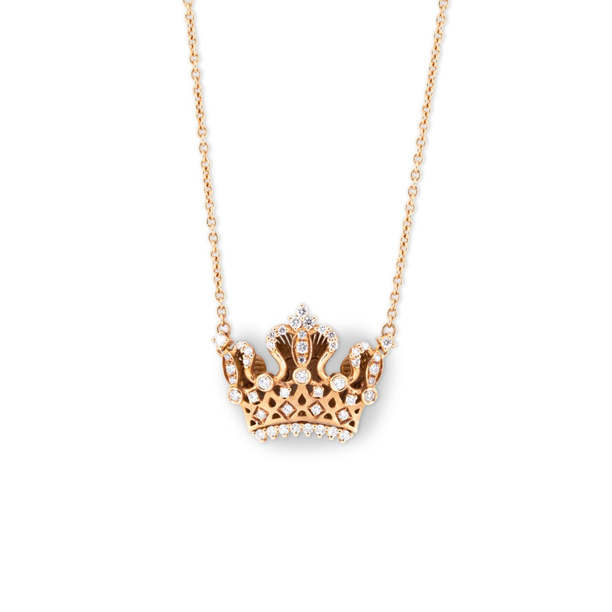 Rose Gold Crown Necklace with Diamonds