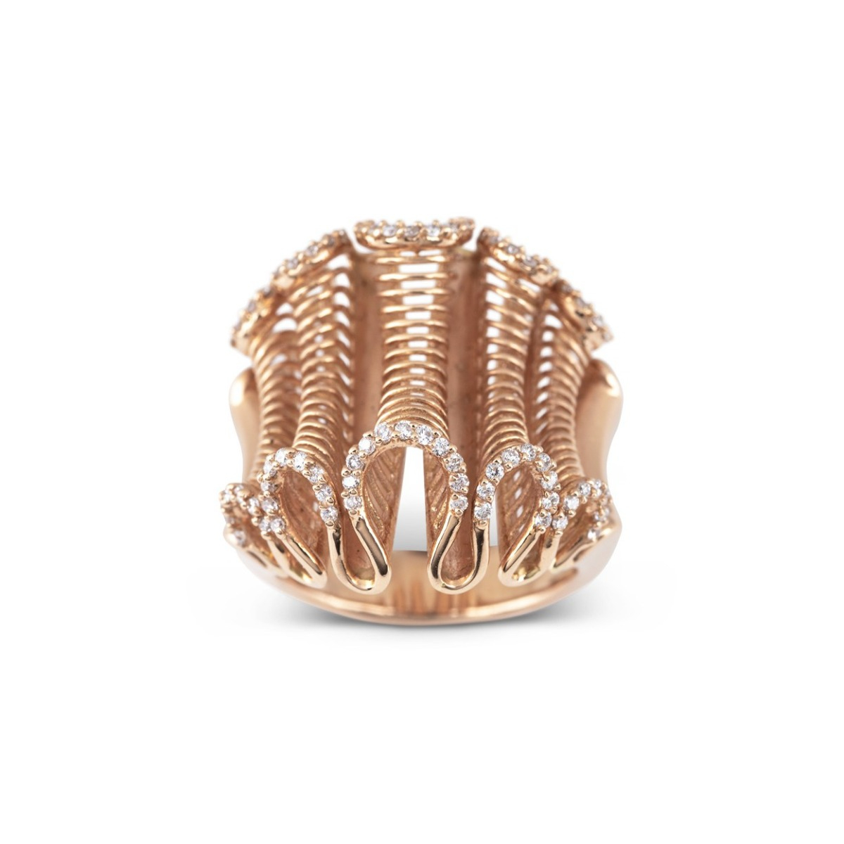 Rose Gold Ribbon Ring with Diamonds