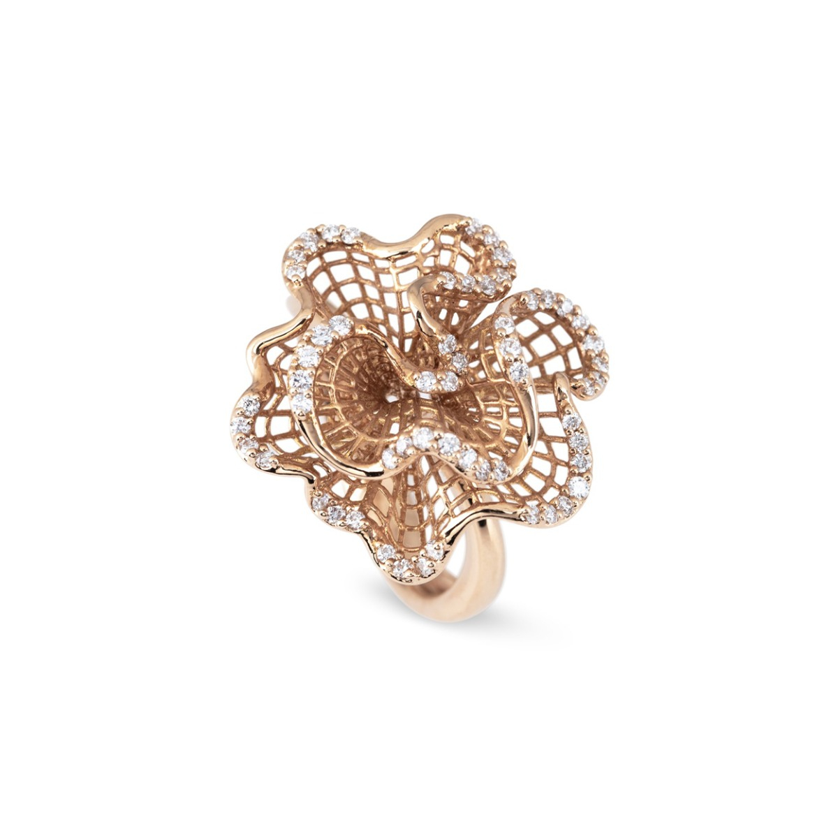 Rose Gold Wavy Ring with Diamonds