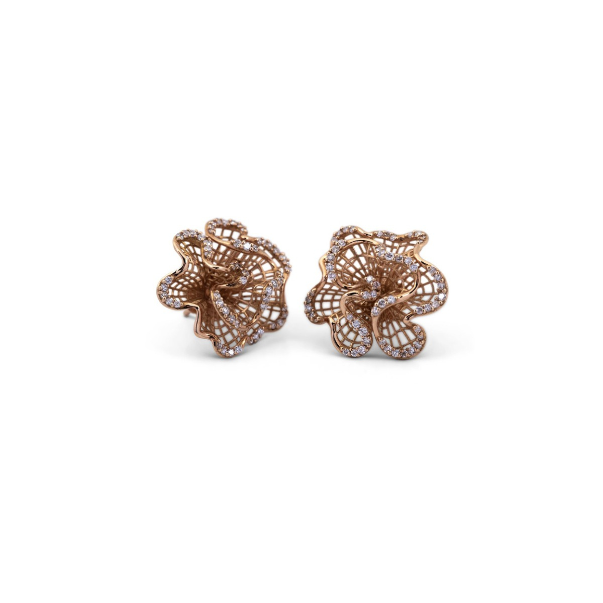 Rose Gold Wavy Stud Earrings with Diamonds
