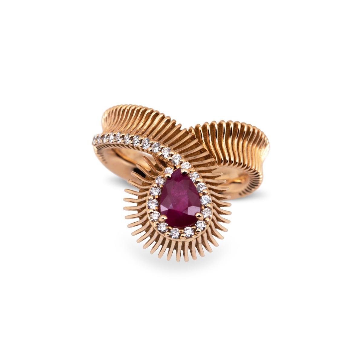 Ruby and Diamond Loop Ring