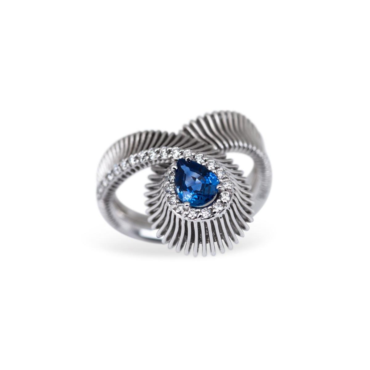 Sapphire and Diamond Loop Ring