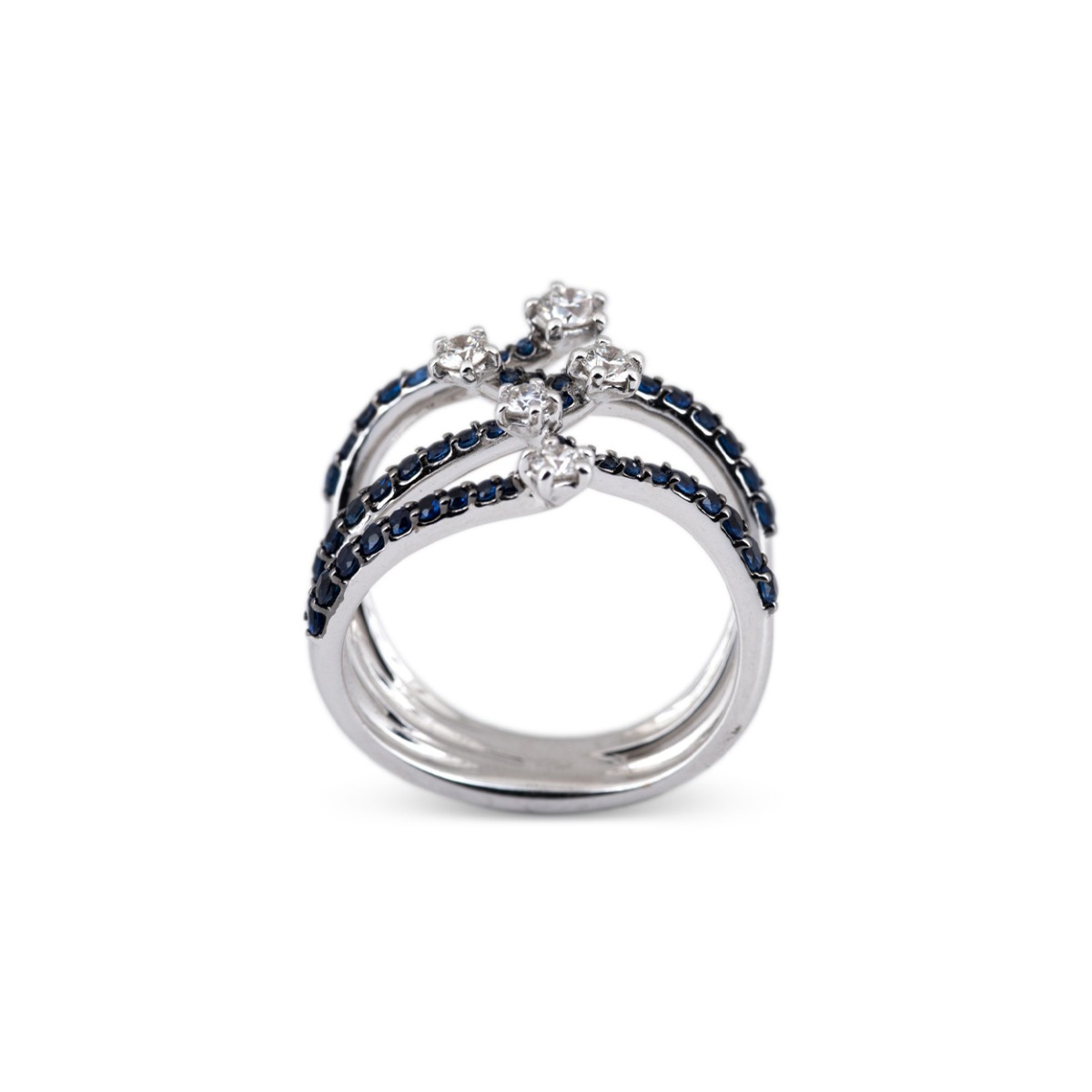 Sapphire and Diamond Openwork Band Ring