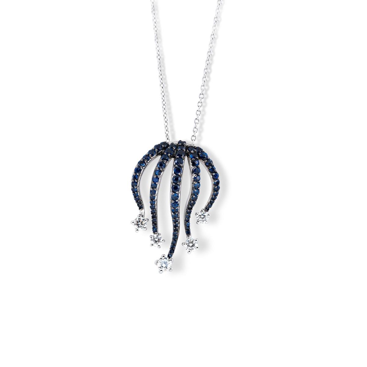 Starry Night Sapphire and Diamond Pendant Necklace