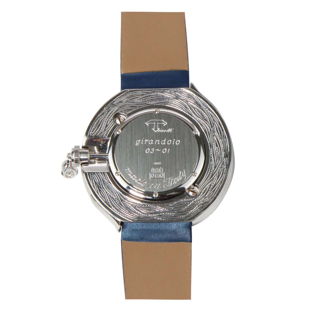 White and pink gold watch with brilliant cut diamonds, a drop cut diamond and blue sapphires