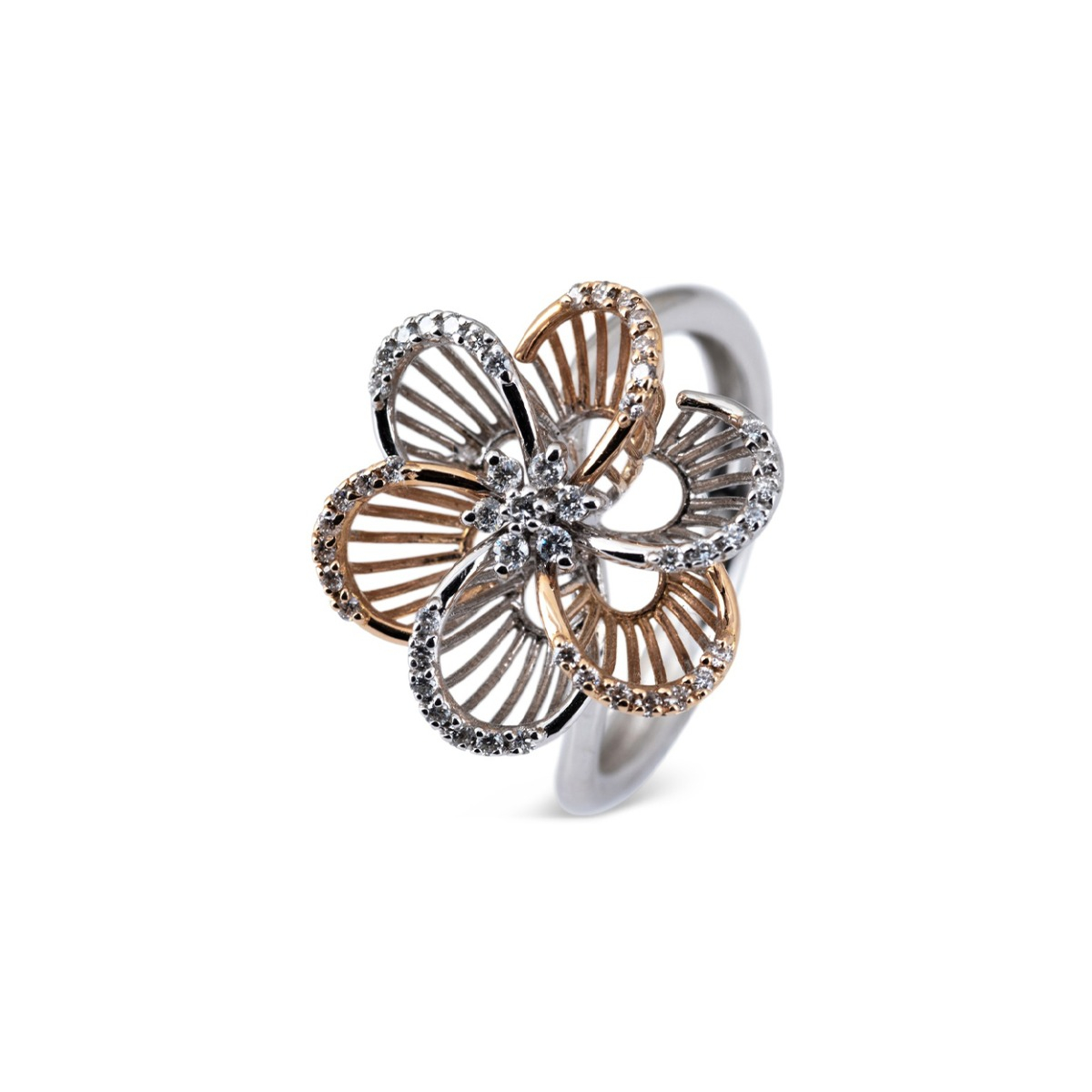 Yellow and White Gold Flower Ring with Diamonds