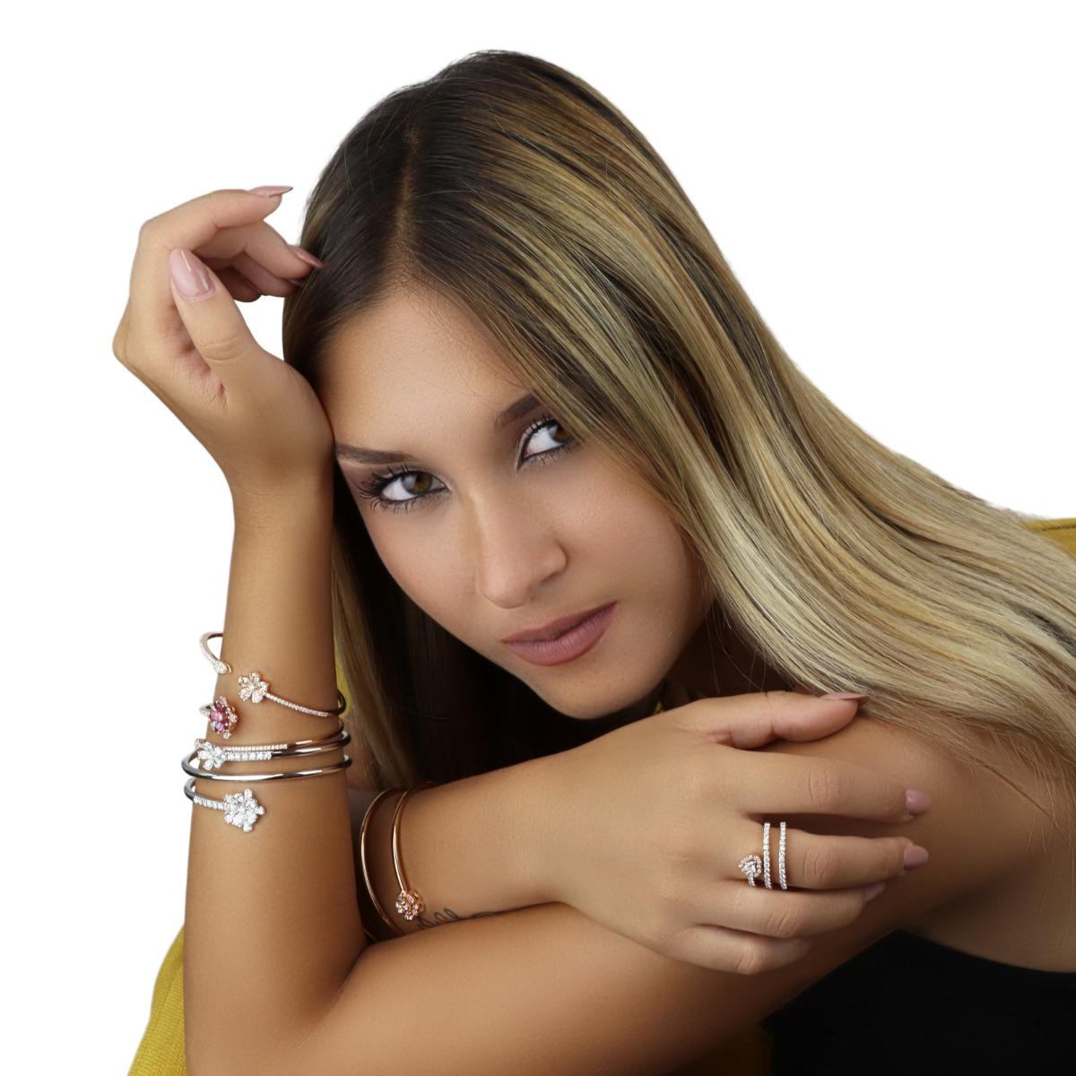 Adjustable Open Cuff Bangle Bracelet with Diamond Flower
