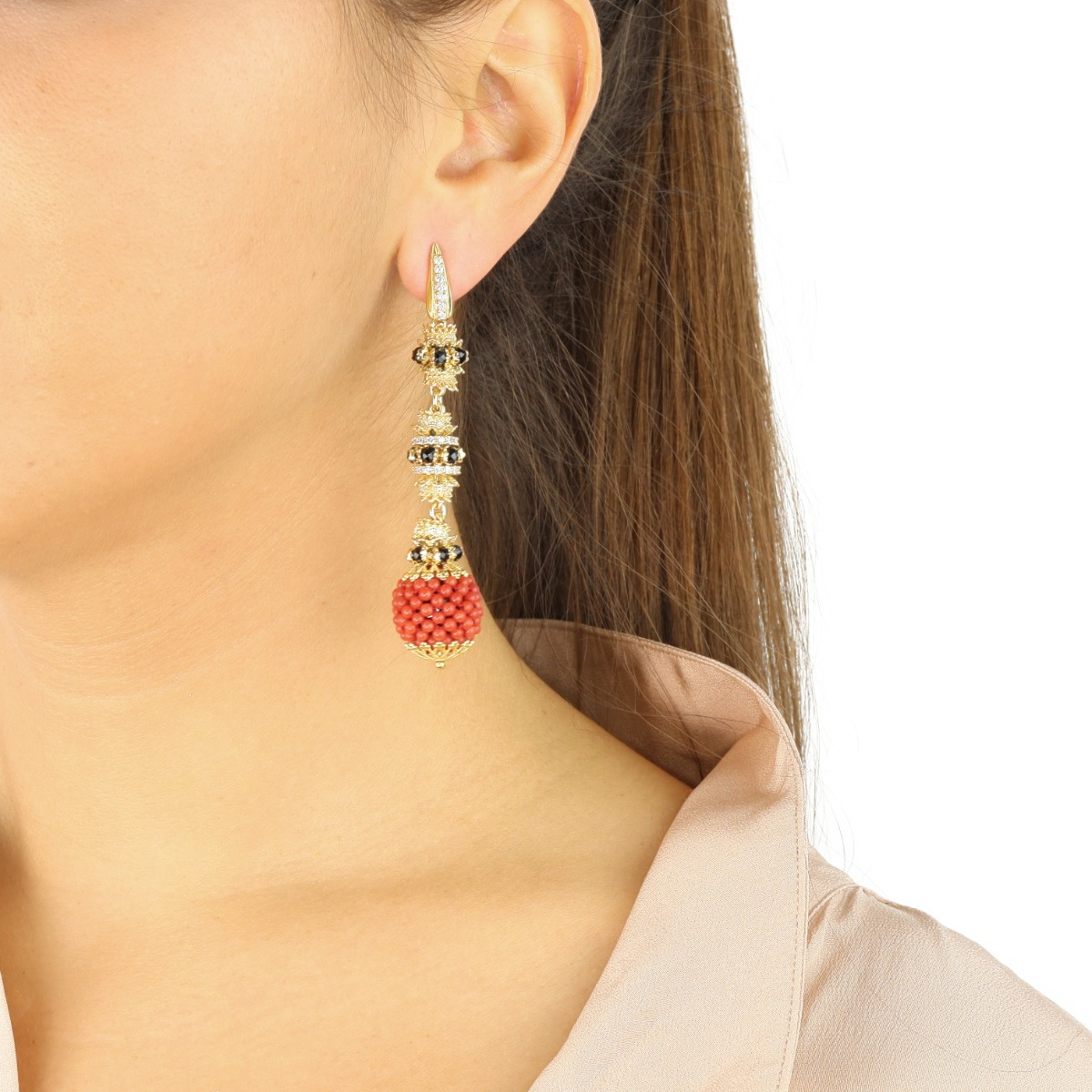 Coral And Spinels Baroque Spheres Earrings