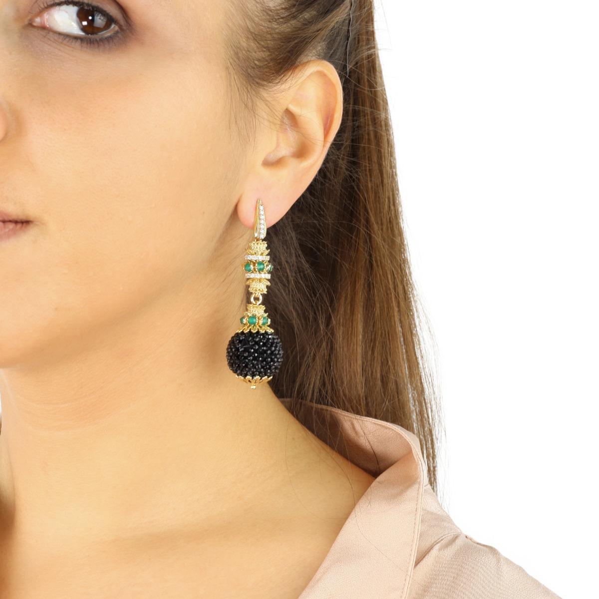 Jade And Onyxes Baroque Earrings