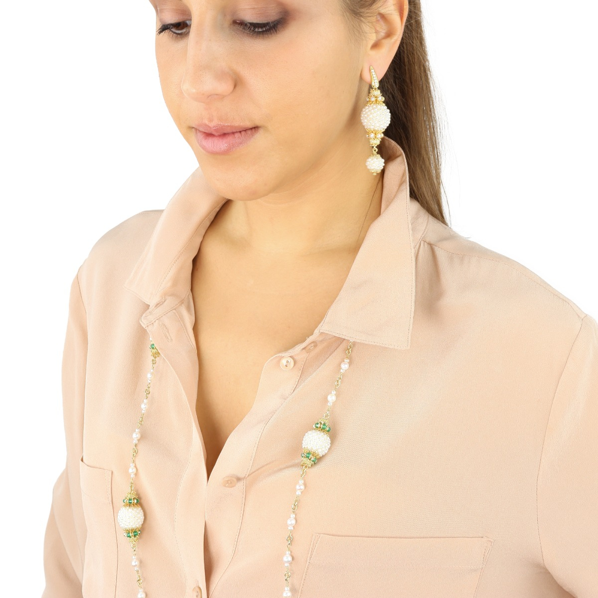 Jade And Pearl Baroque Spheres Necklace