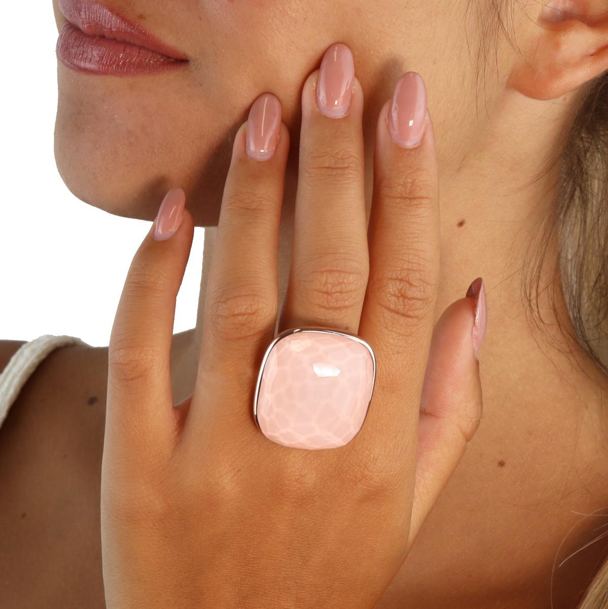 Multiple Facet Cut Quartz And Pink Coral Ring