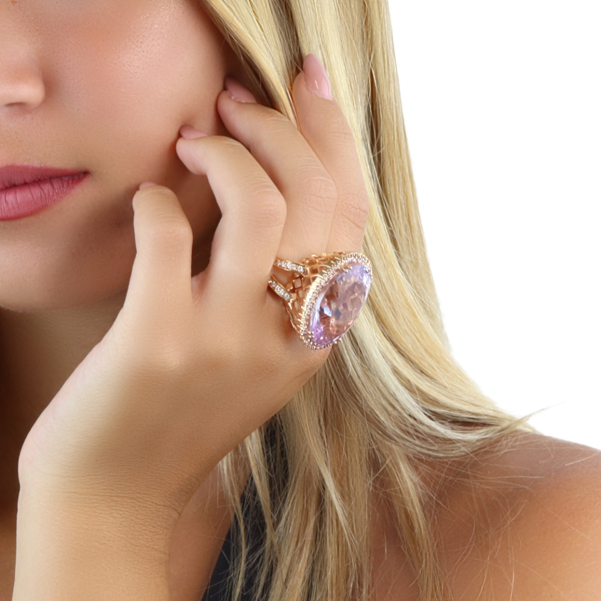 Oval Amethyst Ring with Diamond Halo