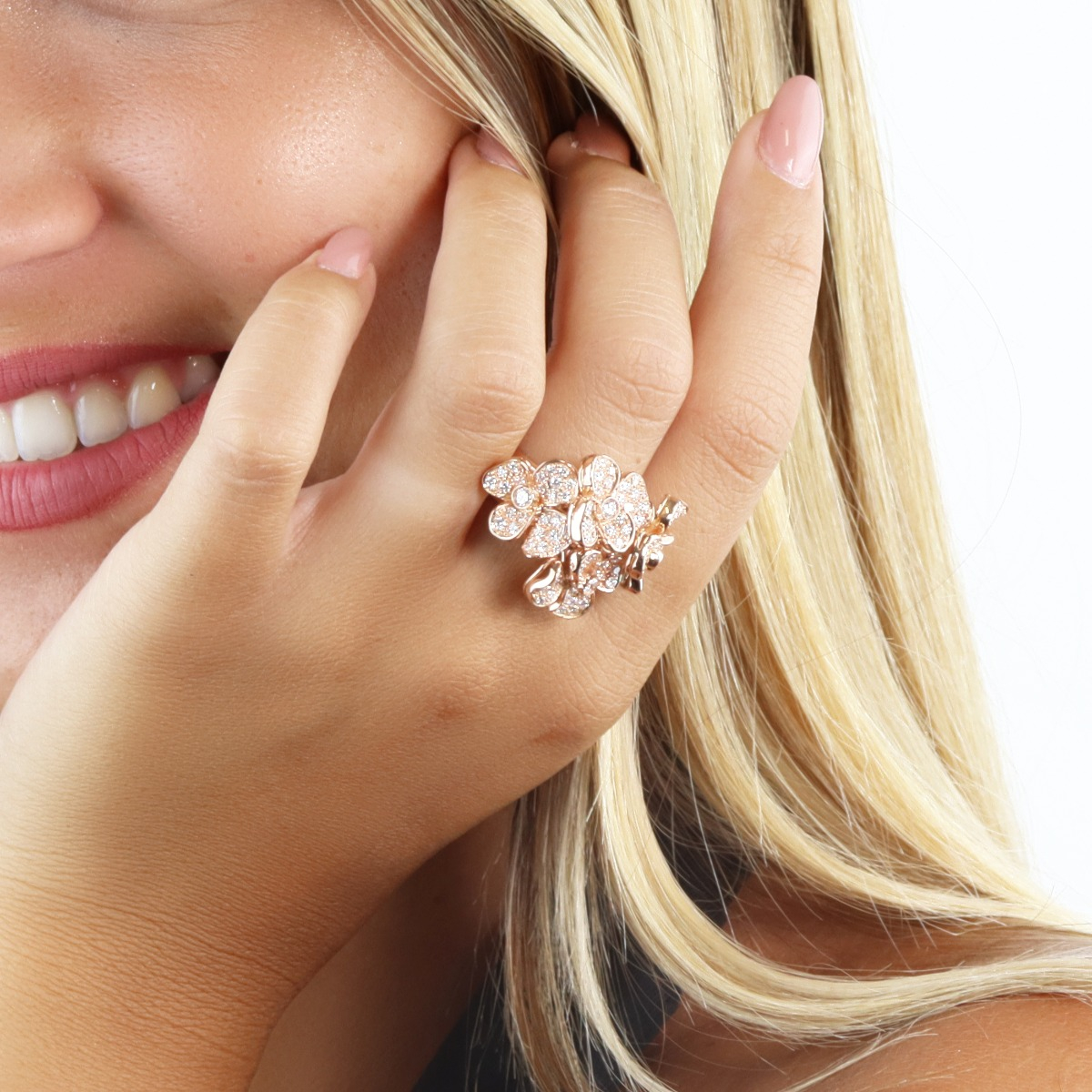 Red Gold Diamond Flower Bouquet Ring