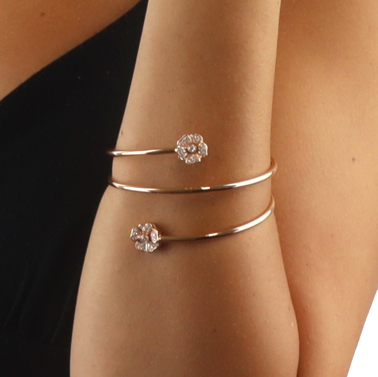 Red Gold Spiral Bracelet with Diamond Flowers