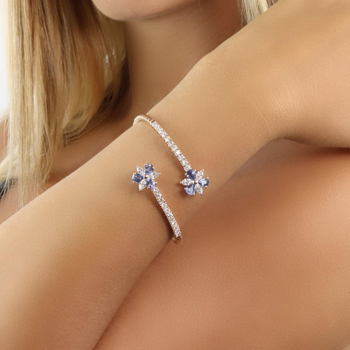 Sapphire and Diamond Flower Bracelet