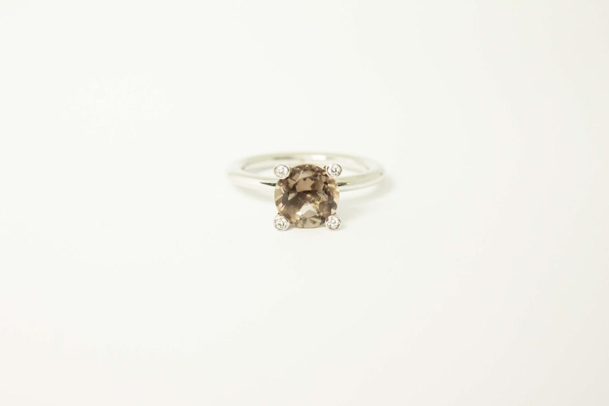 Smoky Quartz Solitaire Ring