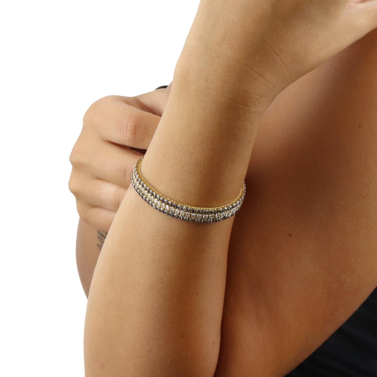 White and Brown Diamond String Bracelet