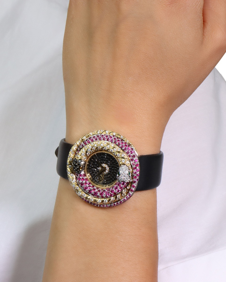 White and yellow gold watch with Collection Color diamonds, Black diamonds, Fancy Yellow diamonds, emeralds and pink sapphires