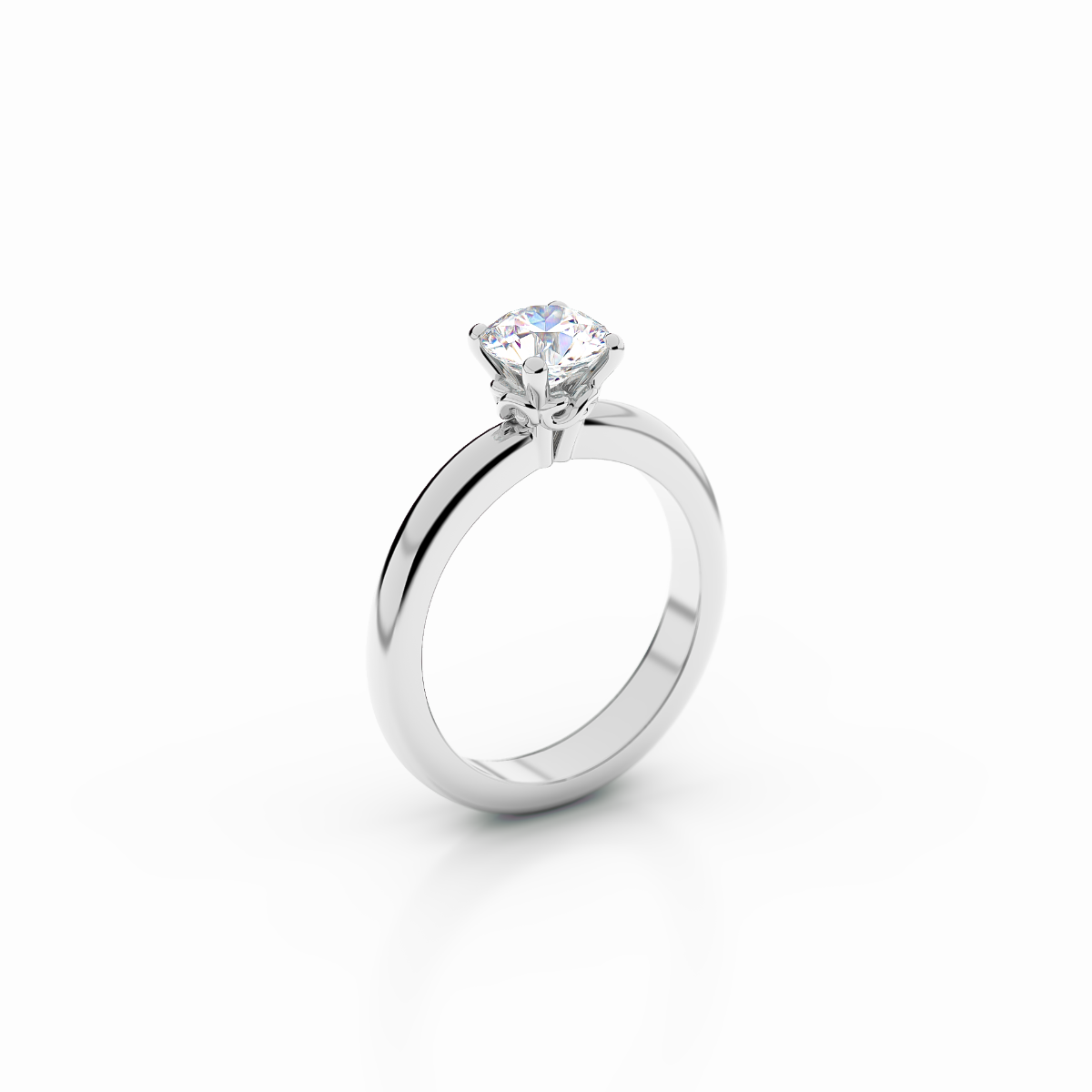 Infinity Collection - Flat-Court Solitaire Ring in Platinum
