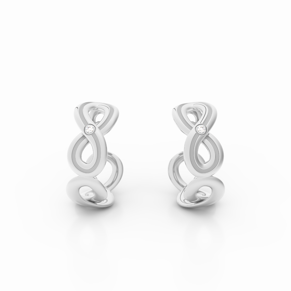 Infinity Collection - Lined Infinity Earrings in Platinum